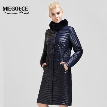 Spring Autumn Ladies Outerwear MIEGOFCE 2016 New Arrival Women jacket coat Md-Long padded Cotton Rabbit fur collar warm parka