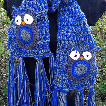 Blue Owl Scarf. crochet royal blue and gray scarf. Made by Bead Gs on ETSY. owls. blue