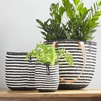 Kiondo Black-and-White Baskets with Thin Stripes