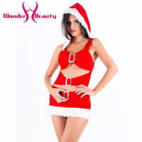 New Arrival Red White Fancy Ruffled Metal Fluff Chrismas Dress On sale Women red Sexy santa Christmas Costume dress W444022
