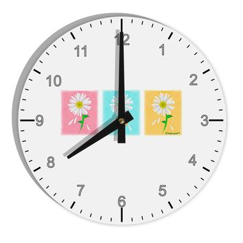 "Pretty Daisies Watercolor 8"" Round Wall Clock with Numbers"