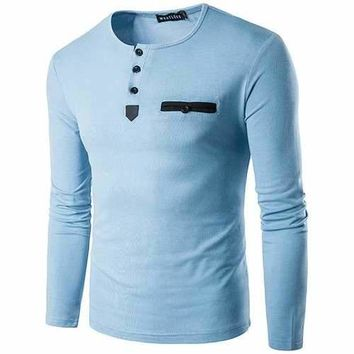 Mens Fashion Casual Contrast Color O-neck Buttons Long sleeve Comfortable Cotton T-shirts
