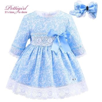 Pettigirl Blue Girls Winter Dress Lace Sash Dresses with Handmade Headwear Jacquard Vintage Boutique Baby Clothes G-DMGD908-902