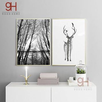 Nordic Style Forest Canvas Art Print Painting Poster, Deer Wall Pictures for Home Decoration, Wall Decor BW001