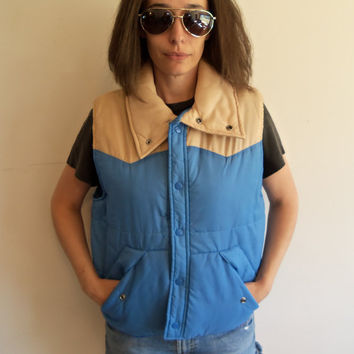 Vintage Tan and Blue 70s Puffy Vest Hipster Indie Outdoor Camping
