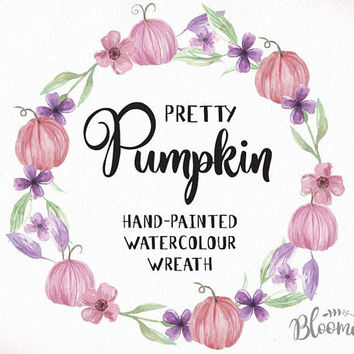 Watercolour Pink Purple Pumpkin Flower Wreath Clipart - Hand Painted INSTANT Download Fall PNG & JPEG Autumn Leaf Leaves Digital Art Garland