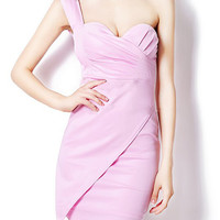 One Shoulder Sleeveless Ruched Bodycon Mini Dress