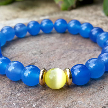 Mens Sky Blue Agate Natural Stone Bracelet, Yellow Cat's Eye Gemstone Bracelet, Gold Bracelet, Strength, Protection Healing Calming