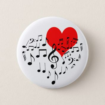 Singing Heart one-of-a-kind romantic beautiful Pinback Button