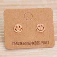 Smiley Face Earrings - Rose Gold