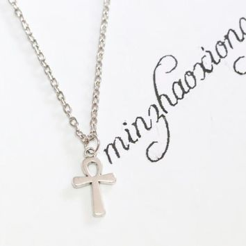 New Vintage Charms Fashion Antique Silver Alloy Ankh Ank Cross Wicca Pagan Pendant Chain Necklace Jewelry Gift  (10 pcs)