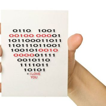 Dorky Computer Card Binary Code Heart Red and by TheWallaroo