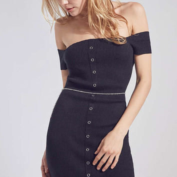 Silence + Noise Button-Down Off-The-Shoulder Dress | Urban Outfitters
