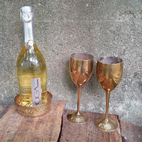 Brass Goblets Toasting Pair with Wine Bottle Coaster Hudson Bay Company India