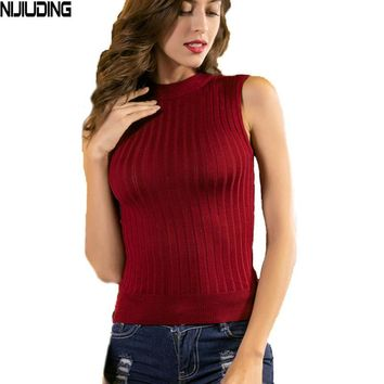 NIJIUDING New Casual Summer Spring Women Knit Tanks Sleeveless Elastic cotton Female Sexy knitted Vest Tank Tops Girls Pullover