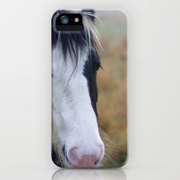 Black and White Horse Portrait iPhone & iPod Case by Organdie