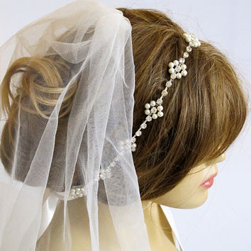 Wedding bridal headband,  Rhinestone and Pearl, hairband, wedddings, Hair Accessory, weddings, hair accessories, Headpieces, headpiece, gift