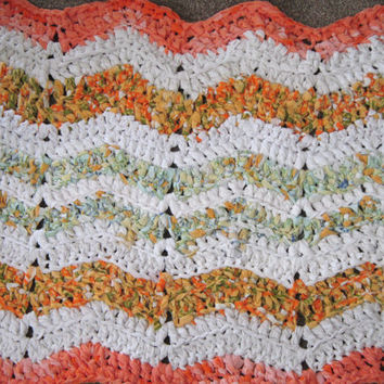 Rag Rug Crochet Rug Chevron Patterned Throw Rug