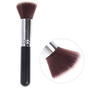 Black and Silver Flat Copper Tube Brush Cosmetic Tools