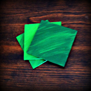 Hand painted Wooden Coasters, Green