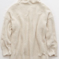 Aerie Chenille Turtleneck Sweater, Natural