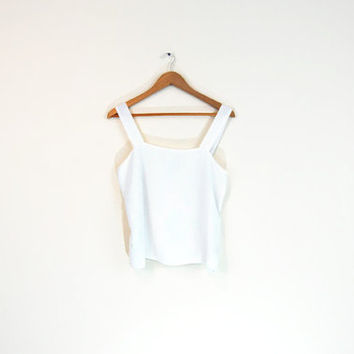 Vintage 90s Sheer White Tank Top - Sheer Top Sleeveless Blouse White Blouse Flowy Tank Top Crop Tank 90s Minimalist Summer Top Sheer Tank