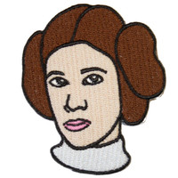 Princess Leia Iron On Patch Embroidery Sewing DIY Customise Denim Cotton Carrie Fisher Star Wars Feminist Geek Retro