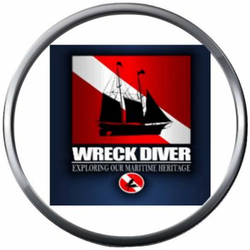 Ship Wreck Diver Red White Scuba Diver Down Dive Flag 18MM - 20MM Snap Jewelry Charm New Item