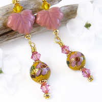 Yellow Pink Floral Cloisonne Earrings Crystals Czech Glass Leaves OOAK