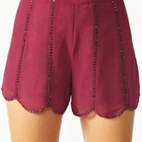 Fitzgerald Beaded Shorts - Wine