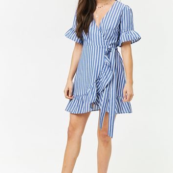 Striped Ruffle Wrap Dress
