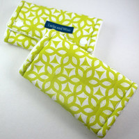 Minky Suck Pads, Cotton and Minky Drool Pads, Teething Pads for Ergo, Mei Tai, Beco, Boba, Lime Green Chew Pads, Geometric Print, Vegan Baby