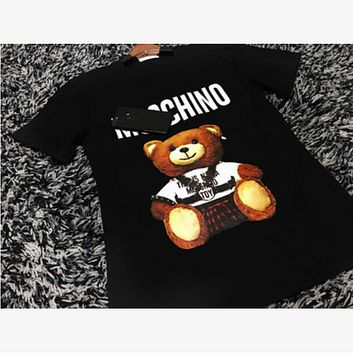 MOSCHINO 2018 Couples Bear Short-Sleeved Cotton T-Shirt Black