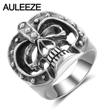 AULEEZE Halloween Mask Skull Ring Real 925 Sterling Silver Men Finger Rings Trendy Hip Hop Rock Silver Jewelry