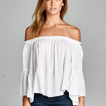COSTA BLANCA OFF THE SHOULDER BLOUSE - WHITE