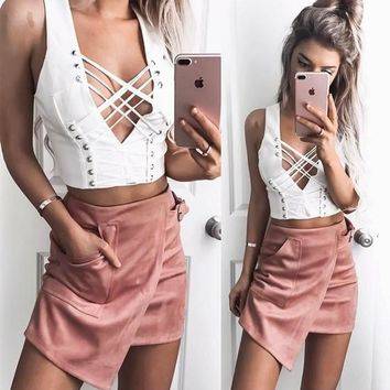 White Cut Out Crop Cleavage Off-Shoulder Sleeveless Vest