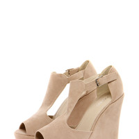 Mia Nude Suedette T Bar Wedges