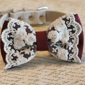 Marsala dog Dog Bow Tie, Marsala color of year, Pet wedding accessory, Marsala wedding,Lace bow, Marsala Pantone