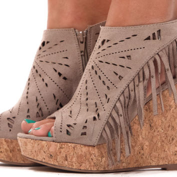 Taupe Suede Cut Out Fringe Wedge