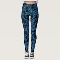 Blue, ornamental, ethnic pattern, leggings