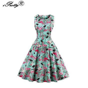 Vintage Dresses 2017 Flamingo Print Summer Dress For Women 50s 60s O-Neck Sleeveless Party Vestidos mujer Large Swing Dresses