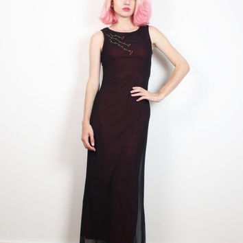 Vintage 1990s Dress Black SHEER Mesh Soft Goth Maxi Dress Bodycon Burgundy Embroidered Floral 90s Prom Dress Club Kid Soft Grunge XS S Small