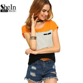 SheIn Womens Round Neck Short Sleeve Casual Tees Multicolor Women Tops Summer Ladies Striped Color Block T-shirt