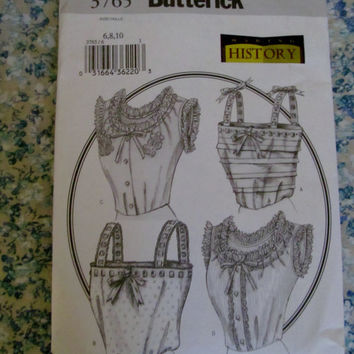 UnCut Butterick Sewing Pattern, 3765! 3 choices 6-22, Women's/Misses, Camisole, Mercerie, Historical Devonts, Historical Costumes
