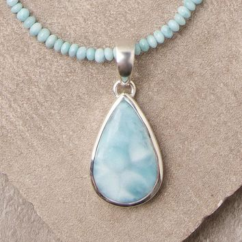 Larimar Bead Pendant Necklace
