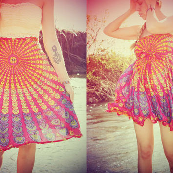 Mini Wrap Skirt, Peacock Hippie Skirt, Cover-Up, Boho, Gypsy, Moon Sunburst, Peacock Print, Skirt, Bohemian, Festival Skirt, Yoga