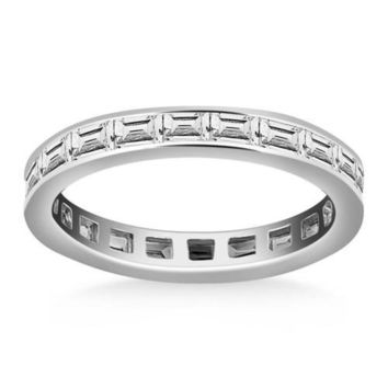 14K White Gold Eternity Ring with Baguette Diamonds, size 8