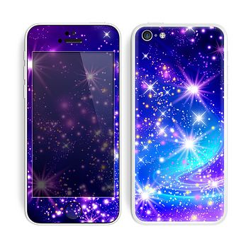 The Glowing Pink & Blue Starry Orbit Skin for the Apple iPhone 5c