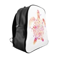 Sea Turtle School Backpack 100% PU Leather Inside Pockets Small Medium Large Sizes