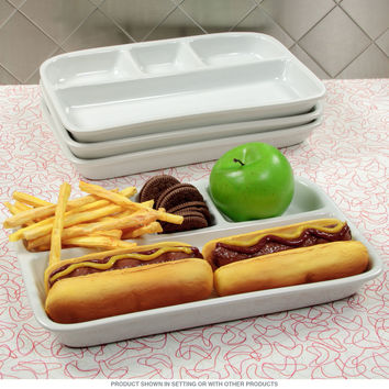 Divided TV Dinner Tray White Stoneware Set